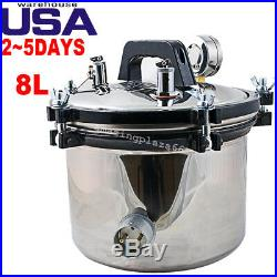 8L Portable Steam Autoclave Sterilizer Dental Equipment Stainless Steel US STOCK