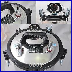 8L Portable Steam Autoclave Sterilizer Pot Dental Lab Equipment Stainless Steel