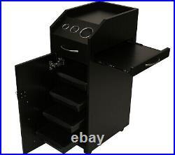BLACK Wood Locking Styling Station 4 Drawer Trolley Cart Salon Equipment