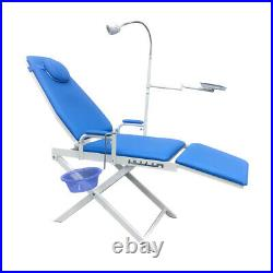 Dental Portable Mobile Chair + LED Cold Light + Cuspidor Tray Lab Equipment Blue
