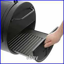 E82424, Side Fire Box Charcoal Grill Durable Heavy Steel Equipment, Color Black