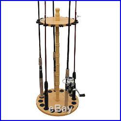 Fishing Rod Holder Portable 16-Rods Storage Organizer Rack Wood Hanger Equipment