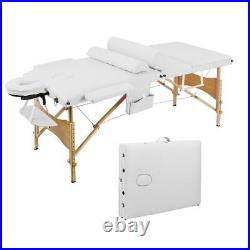 Foldable 84 Wooden Frame Massage Table Bed White Spa Salon Equipment Beauty
