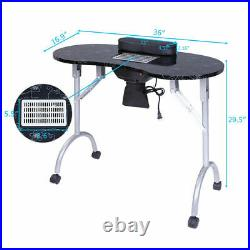 Large Portable Manicure Nail Table Station Desk Spa Beauty Salon Equipment withFan