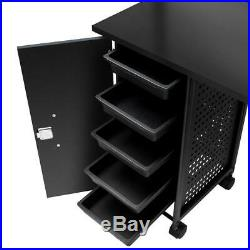 Manicure Nail Table Portable Station Desk Spa Beauty Salon Equipment Iron Black