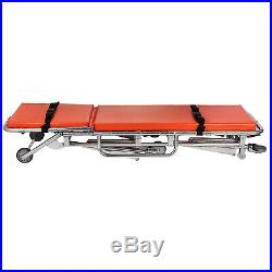 Medical Stretcher Belt Foldable Wheels Portable Equipment Emergency Ambulance