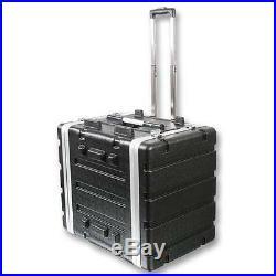 NEW PA DJ 8RU Portable Equipment Rack Mount Storage Case. On wheels. 19 Stage. 8u