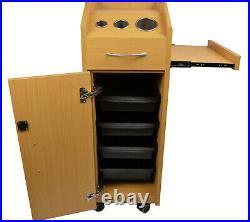 Natural Oak Wood Locking Styling Station 4 Drawer Trolley Cart Salon Equipment