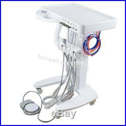 Portable Dental Delivery Mobile Cart Unit Equipment 4 Hole syringe LED Handpiece