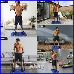 Portable Home Gym Exercise Equipment with Resistance Bands Bar, Muscle