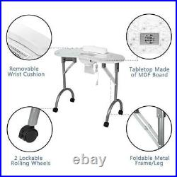 Portable Manicure Nail Table Beauty Salon Nail Art Equipment withWrist Cushion&Fan
