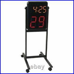 Portable Shot Clock Stand Out Door Sport Equipment Wheels Rolling Wireless Timer