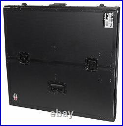 ProX XS-DJSTN BL Portable Foldout Mobile DJ Combo Table Desk Facade with Wheels