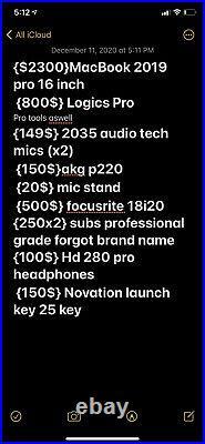 Recording studio equipment bundle