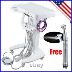 USA Portable Dental Delivery Unit Cart Treatment Equipment 4 Hole +LED Handpiece
