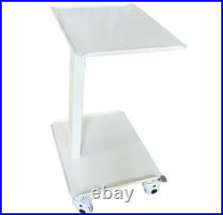 White Dental Equipment Mobile Cart Portable Salon Trolley Two layer Stand